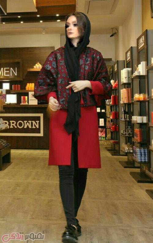 مدل مانتو زمستانی شنل دار قرمز