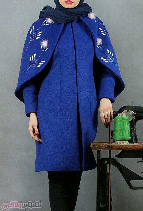 مدل مانتو شنلی زمستانی کاربنی رنگ