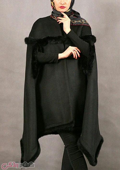 مدل مانتو شنلی زمستانی مشکی لبه خزدار