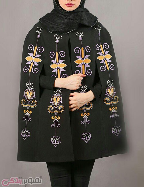 مدل مانتو شنلی زمستانی مشکی طرح سنتی