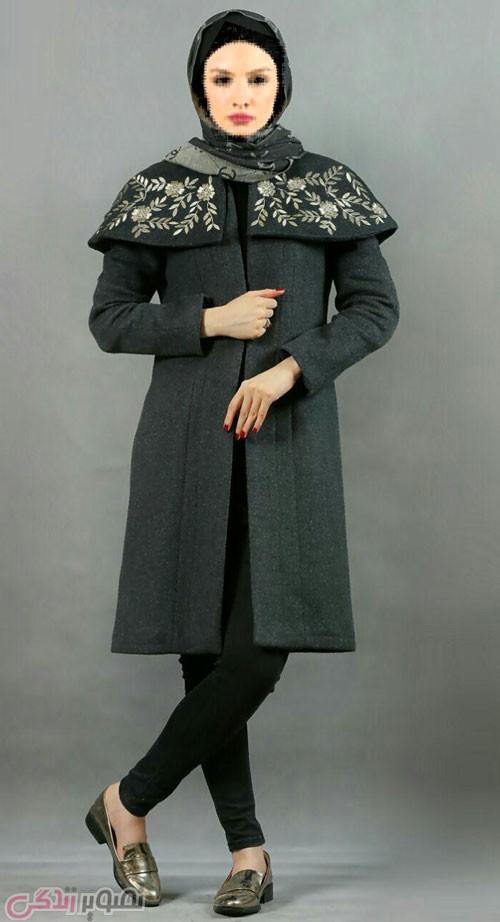 مدل مانتو زمستانی شنل دار مشکی