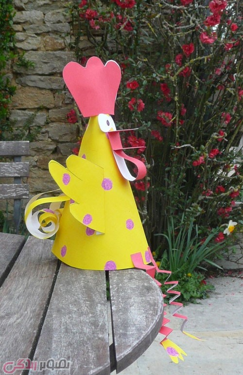 آموزش هنرهای دستی  , آموزش ساخت خروس کاغذی کلاه جشن بچه ها برای نوروز 96 سال خروس