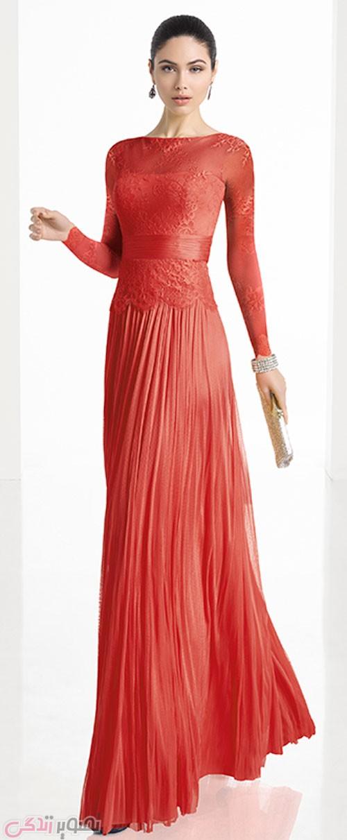 مدل لباس مجلسی 2017 پوشیده قرمز