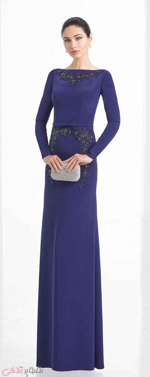 مدل لباس شب پوشیده 2017 آستین دار بلند