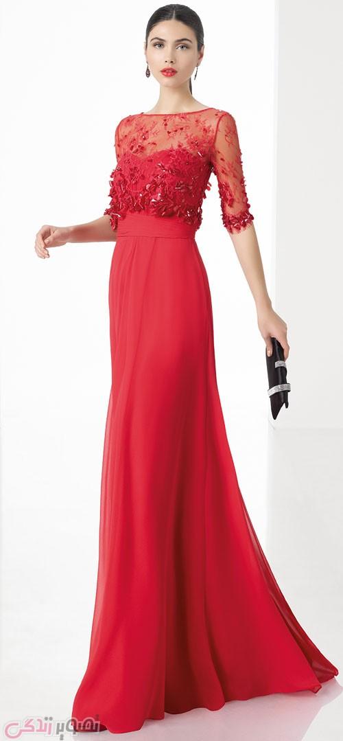 مدل لباس مجلسی 2017 بلند قرمز