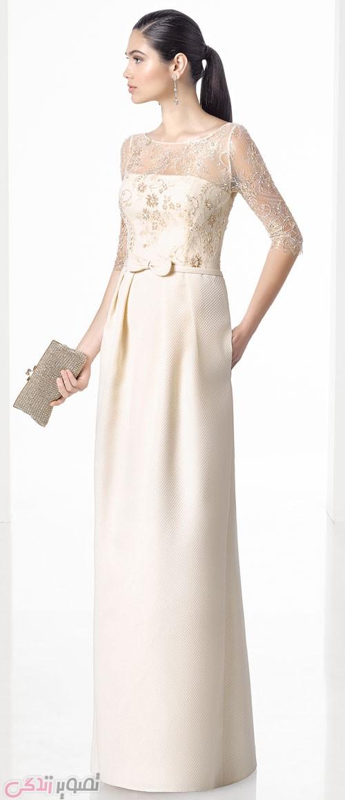 مدل لباس مجلسی 2017 بلند شیری رنگ