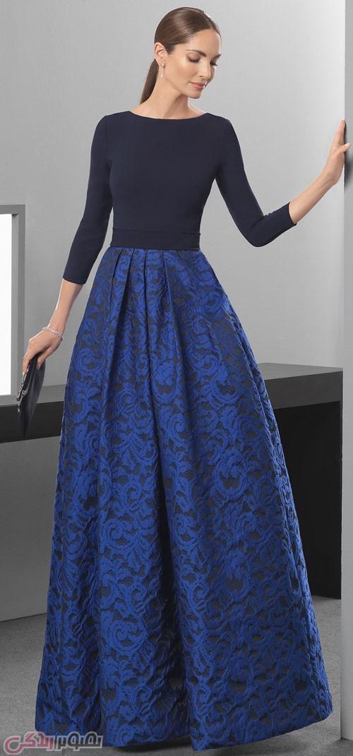 مدل لباس مجلسی بلند پیله دار مدل لباس شب پوشیده 2017 بلند و آستین دار RosaCarla • مدل ...