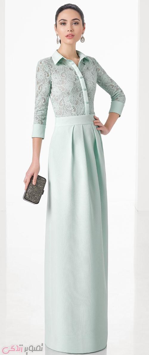 مدل لباس مجلسی 2017 پوشیده آبی روشن