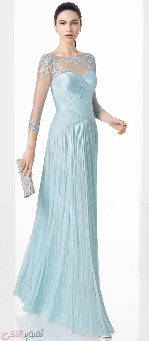 مدل لباس مجلسی 2017 بلند آبی روشن