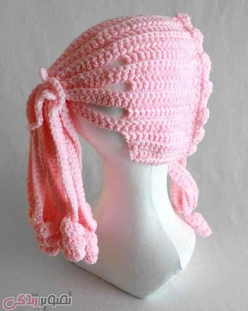مدل کلاه بافتنی دخترانه قلاب بافی