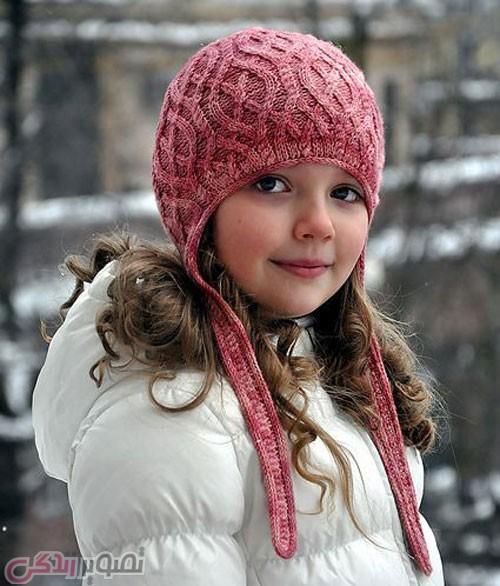مدل کلاه بافتنی دخترانه میل بافی