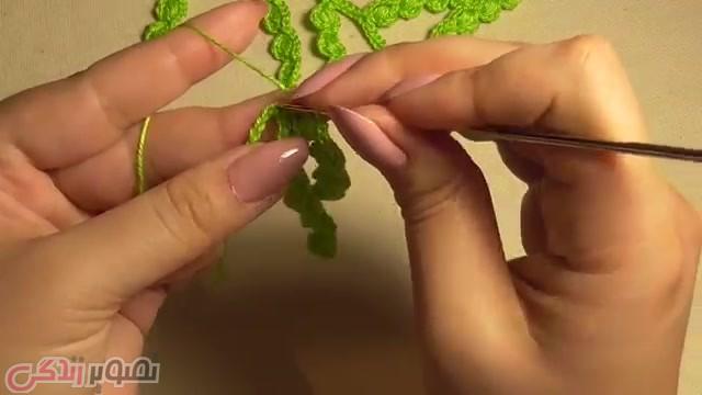 آموزش بافت شاخه برگ قلاب بافی ایرلندی