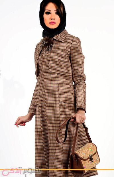 models-Women'مدل مانتو زمستانی چهارخانه شیک