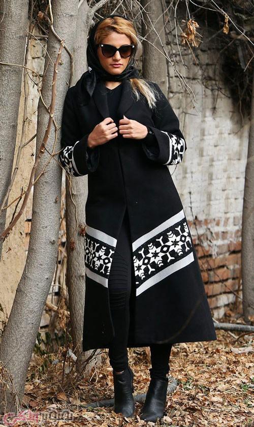 models-Women'مدل مانتو زمستانی مشکی و سفید