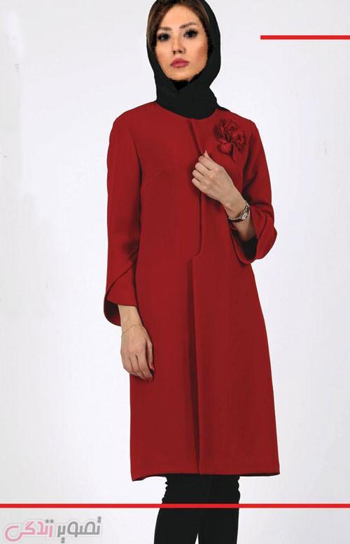 مدل پالتو و مانتو زمستانی مجلسی قرمز دخترانه