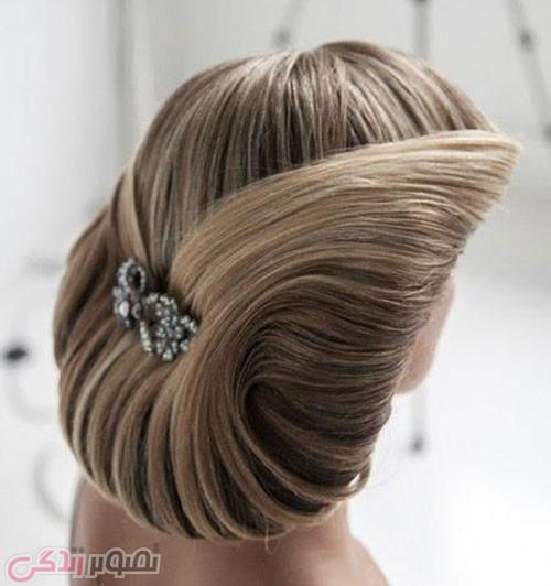 مدل شینون موج دار , شینیون عروس 2017