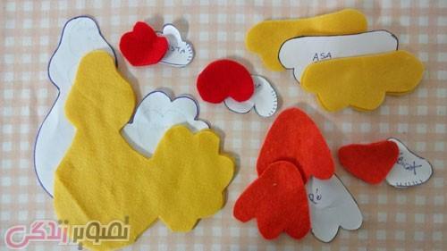 آموزش نمد دوزی  , آموزش دوخت پرده گیر خروس نمدی برای اتاق بچه ها در سال 96 سال خروس