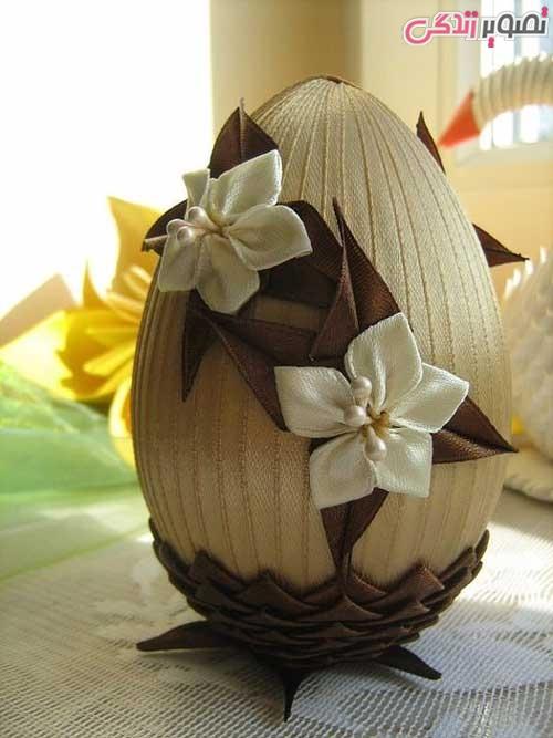 مدل تزیین تخم مرغ با روبان