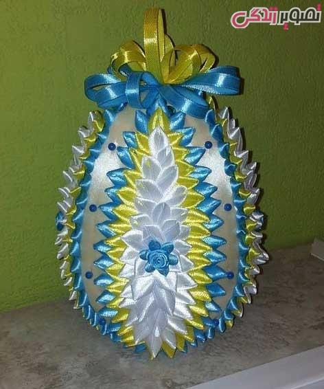 عکس تزیین تخم مرغ با روبان