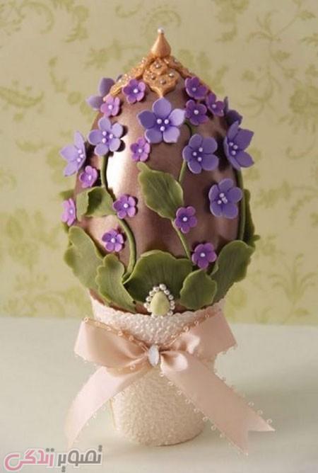 تزیین تخم مرغ هفت سین با گل خمیری
