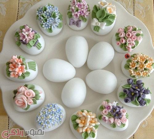 تزیین تخم مرغ هفت سین با خمیر فیمو