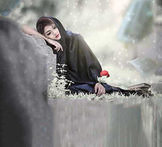 عکس پروفایل دختر غمگین در قبرستان