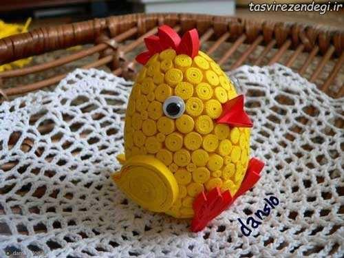تزیین تخم مرغ مرغ هفت سین با ملیله کاغذی