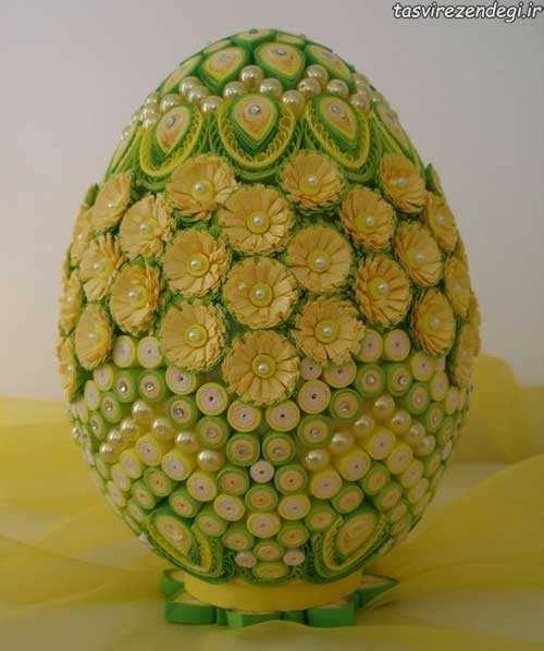 انجام ملیله کاغذی روی تخم مرغ