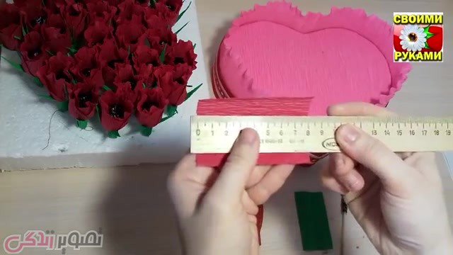 آموزش گل سازی  , آموزش ساخت کادو روز ولنتاین شکلات تزیین شده به شکل جعبه گل قلبی شکل + فیلم