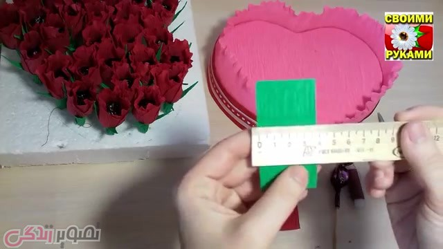 تزیین شکلات به شکل جعبه گل رز هدیه ولنتاین