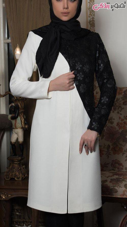 مدل مانتو عید 96 سفید و مشکی