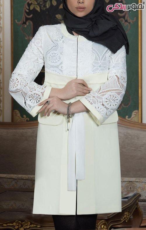 مدل مانتو عید 96 سفید و لیمویی