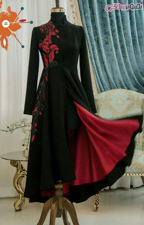 مدل مانتو مجلسی بلند مشکی قرمز