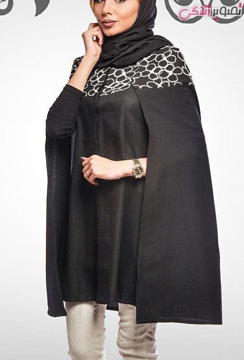 مدل مانتو عید دخترانه شنلی مشکی