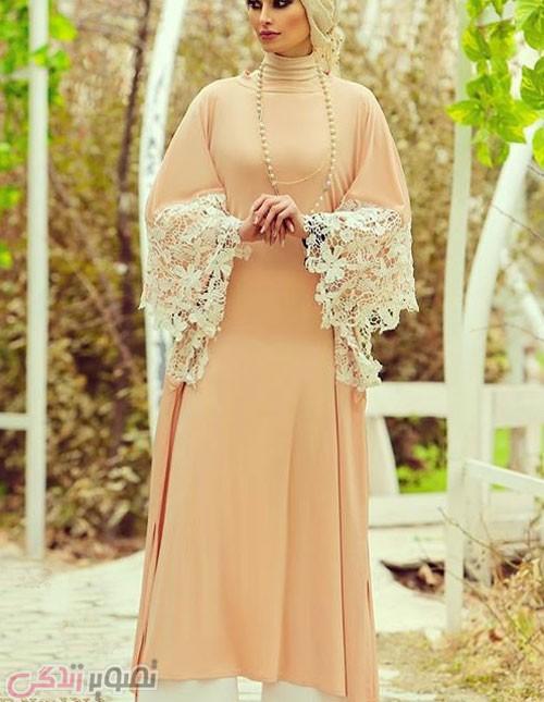 مدل لباس شب طلایی مشکی 2017 مانتو با تزیین نوار گیپور