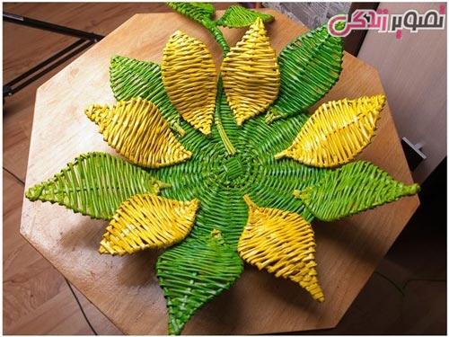 آموزش ساخت ظرف گل آفتابگردان با روزنامه