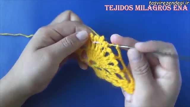 آموزش بافت شال مدل طاوسی با قلاب