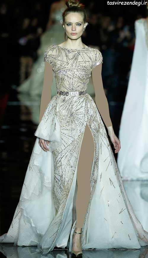 مدل پیراهن مجلسی بلند سفید و طلایی