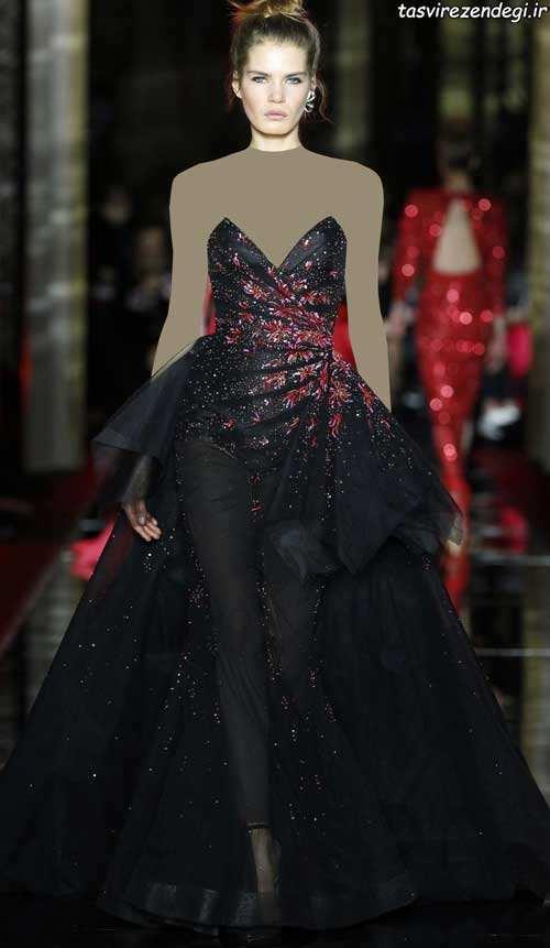 مدل لباس شب مشکی دکلته جواهر دوزی شده