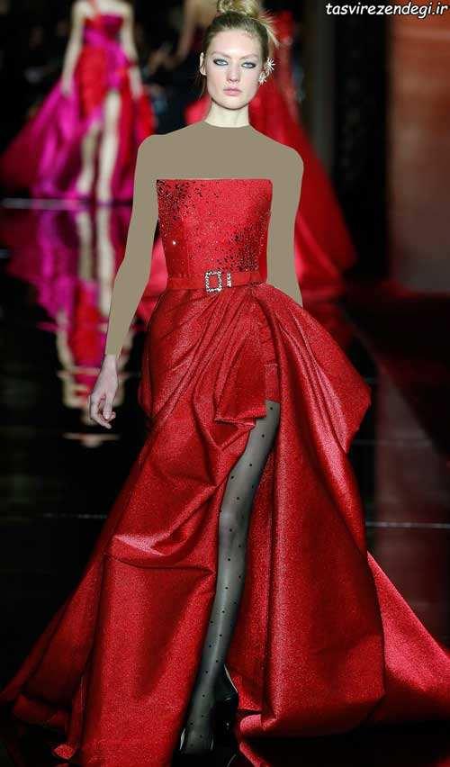 مدل لباس عروس زهیر مراد مدل لباس مجلسی قرمز و صورتی رنگ شیک سال 2017 برند زهیر ...