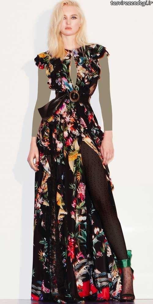مدل لباس شب مشکی گلدار