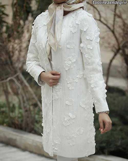 مدل مانتو مجلسی سفید گل برجسته