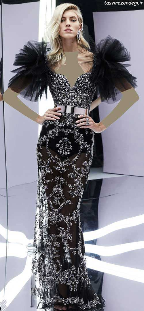 مدل لباس شب مشکی جواهر دوزی شده