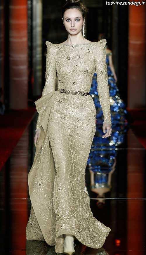 مدل پیراهن بلند مجلسی طلایی رنگ
