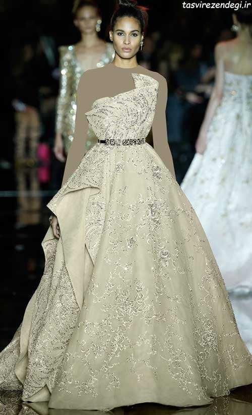 مدل لباس نامزدی شیک طلایی رنگ