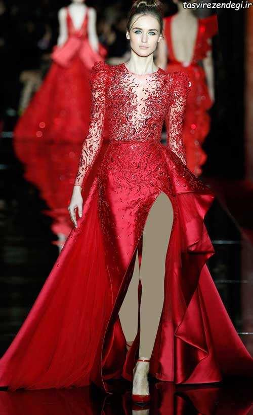 مدل لباس عروس زهیر مراد مدل لباس مجلسی قرمز, لباس شب قرمز