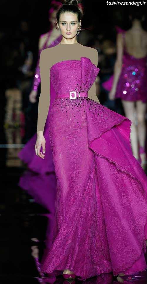 مدل لباس مجلسی سرخابی , لباس شب سرخابی