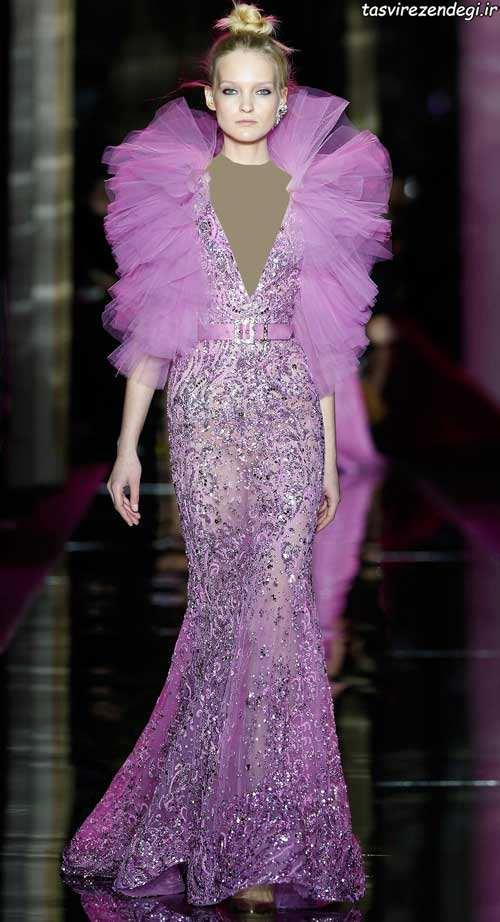مدل لباس مجلسی صورتی , لباس شب صورتی