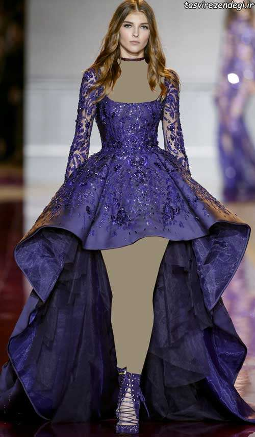 مدل لباس مجلسی بنفش سنگ دوزی شده