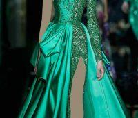 مدل لباس شب بلند شیک سبز